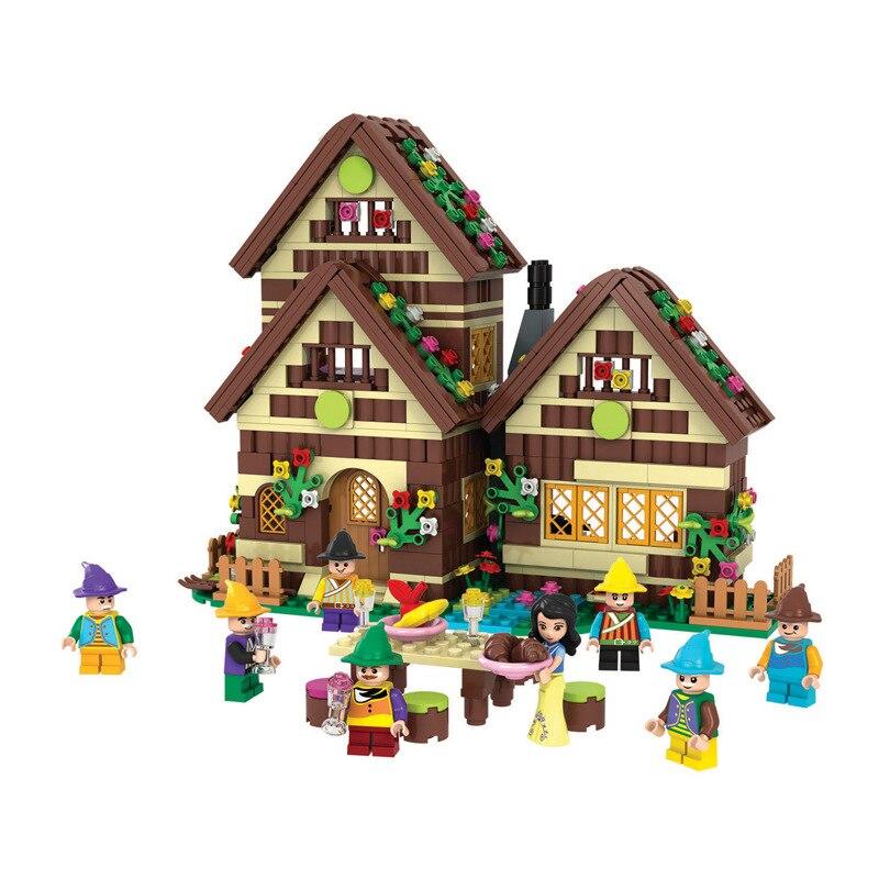 2016 New Winner 680pcs Building Blocks Fight Inserted Blocks Dream Girl Snow White Dwarfs Chalet 5005