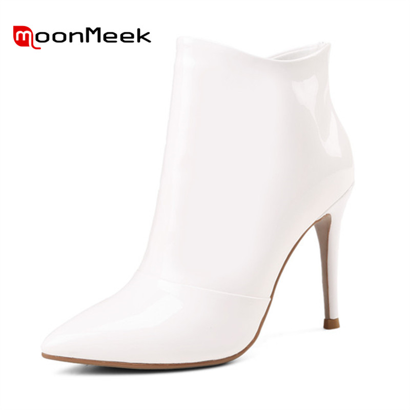 MoonMeek 2018 fashion autumn winter ladies boots hot sale woman pointed toe ankle boots popular genuine leather bootsMoonMeek 2018 fashion autumn winter ladies boots hot sale woman pointed toe ankle boots popular genuine leather boots