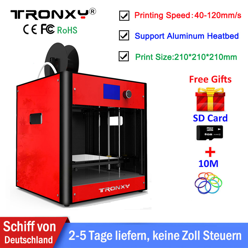 NEW Tronxy 3D Printer Kit Large Printing Size 210x210x210mm LCD Screen i3 Extruder Metal Frame Tronxy 3d Printer With Heated Bed все цены