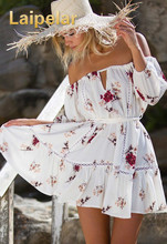Women Casual Beach White Dress Loose Floral Print Pleated Sexy Short Dress Robe Off Shoulder Hollow Out Summer Dress