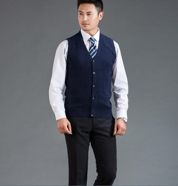 2016 Latest design mens sweater vest fashion knit cashmere sleeveless cardigan