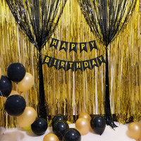 DIY Birthday Party Decoration Balloon Foil Curtains Pull The Flag Dropshipping Apr01