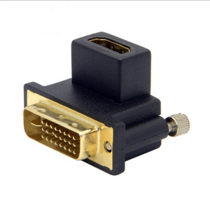 90 Degree Up & Down Angled DVI Male to HDMI Female Swivel Adapter for Computer & HDTV & Graphics Card(China)