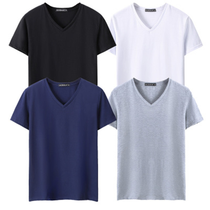 Plus size 5XL 4pcs/lot Black White Grey Navy Blue Summer Men Tshirts Short Sleeve V neck Men   T     Shirts   Casual Men Tee