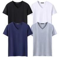 Plus size 5XL 4pcs/lot Black White Grey Navy Blue Summer Men Tshirts Short Sleeve V neck Men T Shirts Casual Men Tee