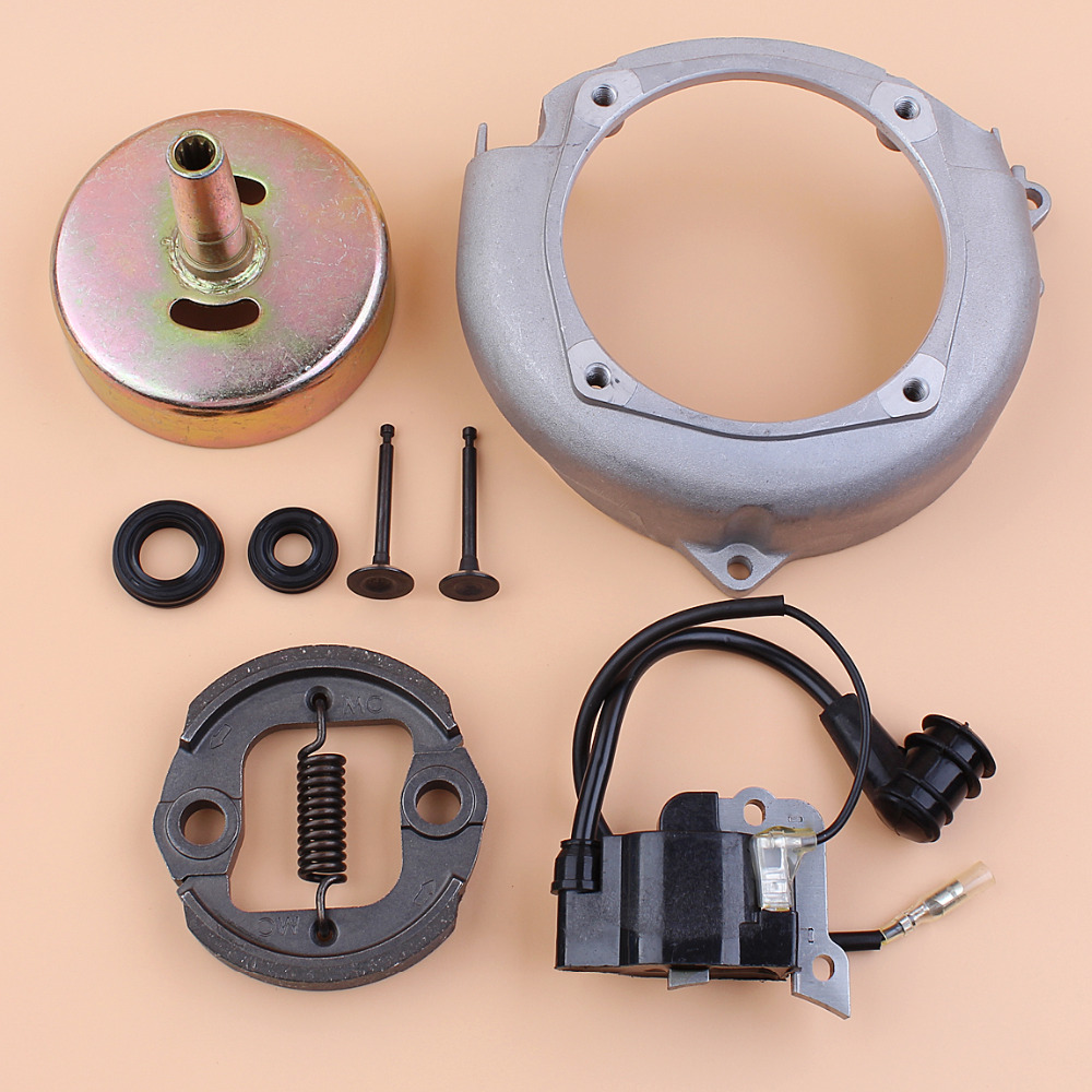 9T Clutch Drum Flywheel Fan Cover Ignition Coil Oil Seal Valve Repair Kit For Honda GX35 GX 35 1.3HP Small Engine Motor Trimmer gx31 clutch ay od 76mm aluminum for honda gx35 mitsubishi tb50
