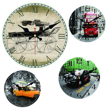 WONZOM City Taxi Large Car Bus Decorative Round Wall Clock Living Room Wall Decor Saat Fashion Silen