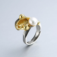 100% Sterling 925 silver 8mm pearl rings gold fashion elegant natural freshwater pearl rings women pearl jewelry for charms gift