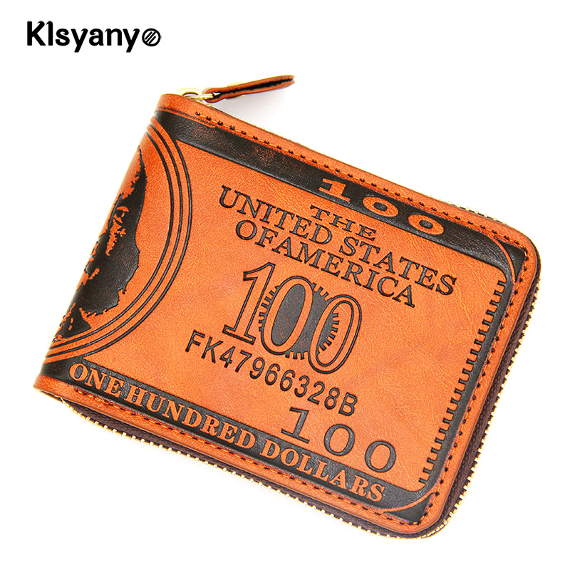 Klsyanyo 100 Dollar Bill Wallet Men Short Wallets Leather Zipper Women Bifold Coin Purse Vintage Style Card Holder Pouch anime fate stay night coin wallet cosplay men women bifold purse