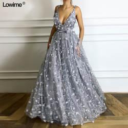 Новое поступление Sexy глубокий v-образный вырез линии платья для выпускного вечера 2018 специальное блестками ткань рукавов Вечерние платья
