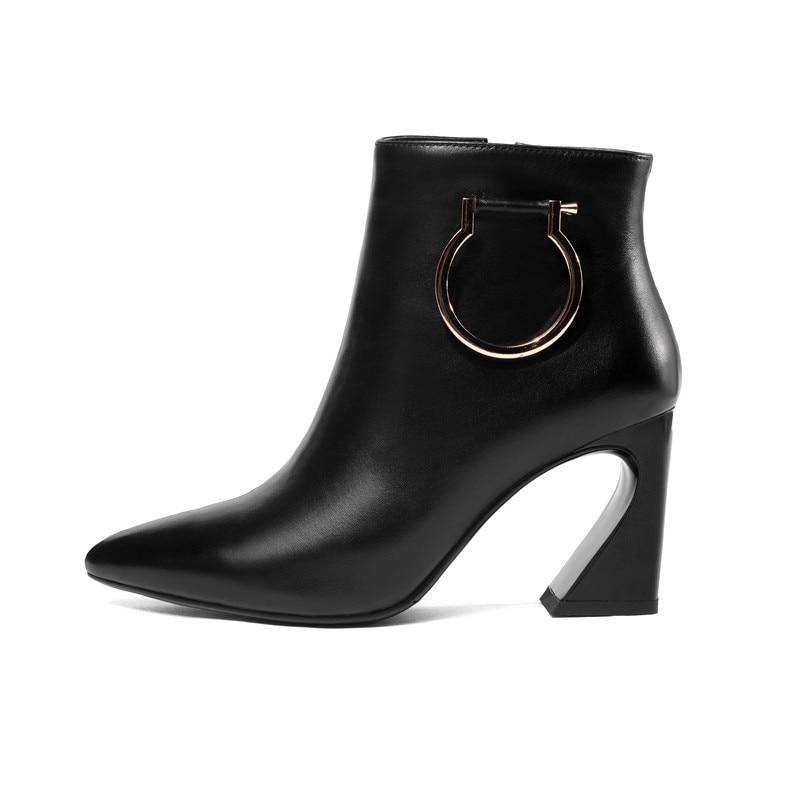 beigeschwarz kommen neu 2018 leder schuhe herbst winter stiefel mode damen echtem ankle high Moonmeek spitz heels aus 7yg6bf