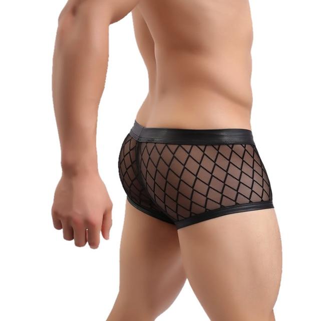 Fashion men's sexy panties grid breathable male boxer sexy transparent men underwear homens cueca boxer mens underwear boxers