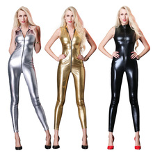 5cdcb717c6bb New Sexy Sleeveless Long Catsuit Latex bodysuit Overalls Female Faux Leather  Zipper To Crotch Women Vinyl