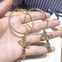European and American cross earrings Female personality tide exaggerated long circle simple jewelr