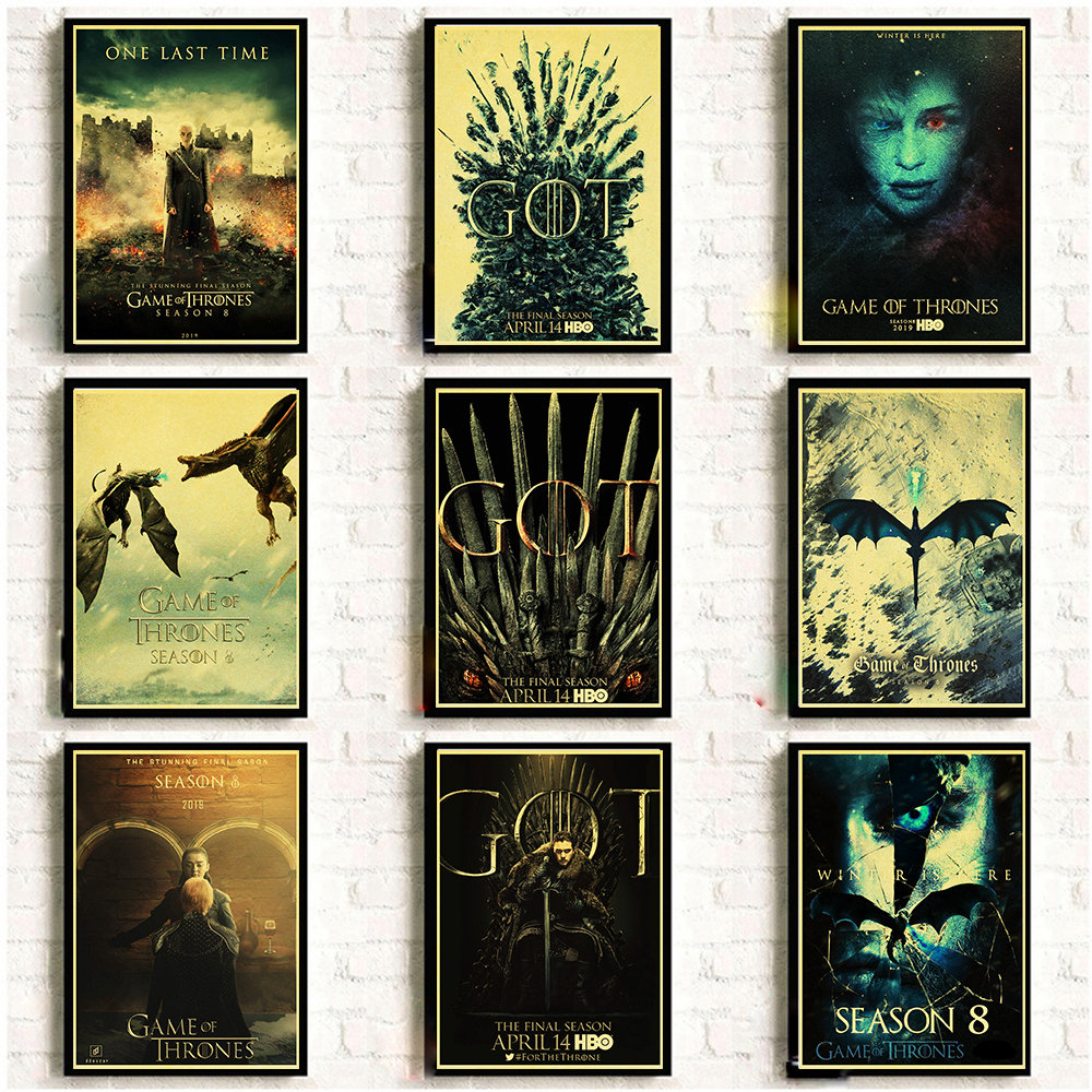 Game Of Thrones Season 8 Poster 2019 New Movie Vintage Posters Art Retro Wall Pictures For Living Room Decor Wall Sticker