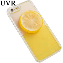 UVR Sunny DIY Lemon Fruit Pendant Yellow Flowing Dynamic Liquid Case For iPhone 6 6S 7 Plus Summer Clear Transparent Coque Cover