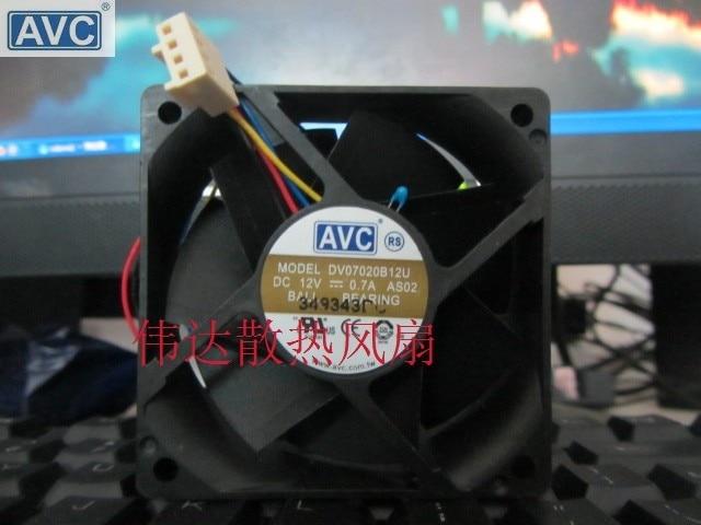 Original AVC DV07020B12U 7020 70mm 7cm DC 12V 0.7A dual ball bearing fan server inverter cooling fan