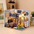 Artesanato DIY Quarto Casa de Bonecas 1:32 casa de Bonecas Em Miniatura De Madeira Modelo de Montagem de Brinquedos De Madeira Grande Decoração Para Casa Com luzes de LED