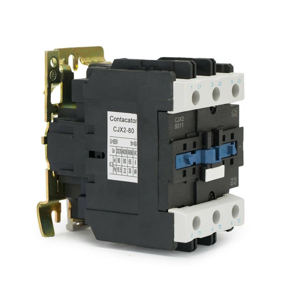 CJX2-8011 3 Phase 1NO+1NC Alternating Current Contactor Silver point 380V 220V 110V 36V 24V Rated Coil Voltage