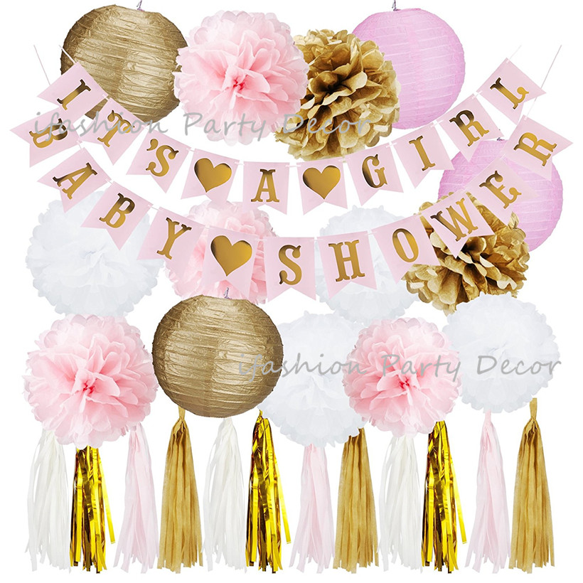 Pink and Gold Baby Shower Decorations for Girl ITS A GIRL/BOY Banner&BABY SHOWER Banner,Tassel Garland,Paper Pom Poms for Party