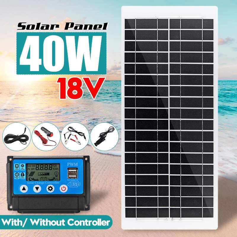 40W 18V USB Solar Panel Waterproof Solar Cell with Car Charger + 10/20/30/40/50A Controller for Outdoor Camping Emergency Light