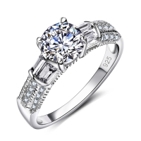 New Arrivals Luxury Women Ring Rhodium Plated CZ Setting Rings Wedding Engagement Ring Fashion Jewelry Free