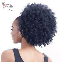 Ponytail Human Hair Mongolian Afro Kinky Curly Ponytail Remy 4B 4C Clip In Extensions Natural Hair Bundles Ever Beauty