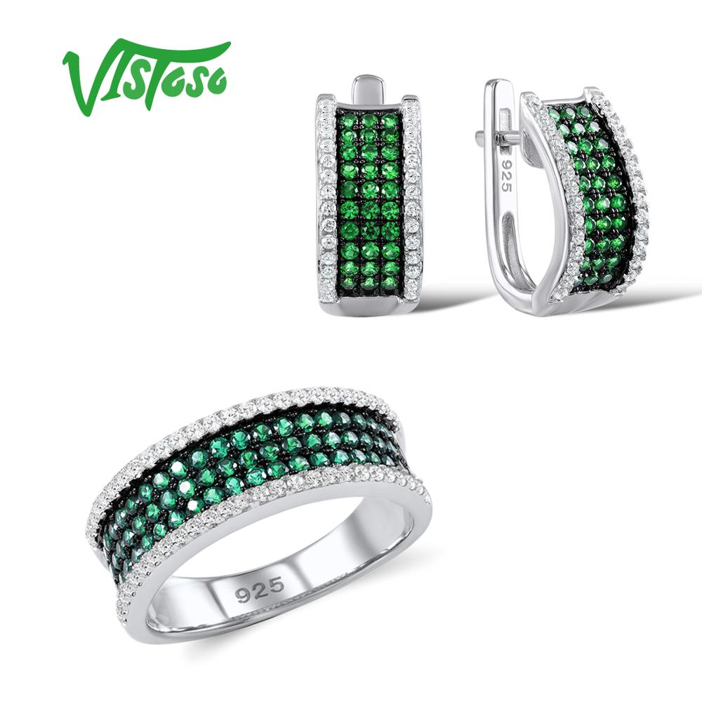 VISTOSO Jewelry Sets For Woman Green Spinels White CZ Stones Jewelry Set Earrings Ring 925 Sterling Silver Fashion Fine Jewelry santuzza jewelry sets for women blue spinels white cz stones jewelry set ring stud earrings set 925 sterling silver jewelry set