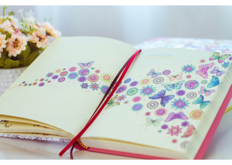 Image 5 - 2019 Kawaii Cute Korean Floral Printing Book Colorful Flower Line Notebook Hardcover Personal Journal Dairy Sketchbook For Girls-in Notebooks from Office & School Supplies