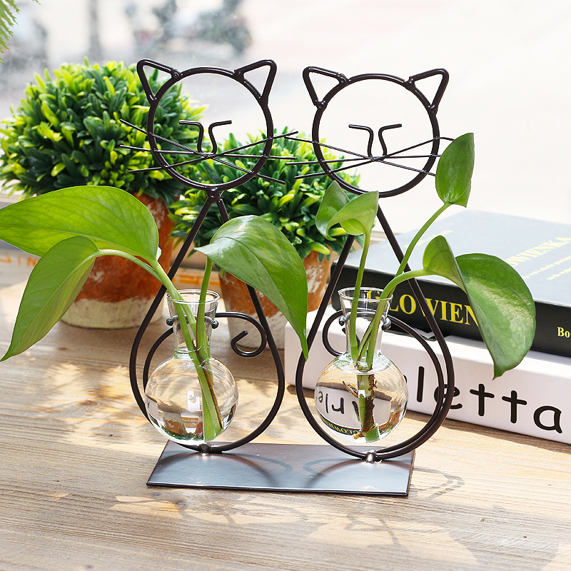 American Style Household Handcraft Cute Cat Water Planting Cafe Shop Figurines Iron Glas ...