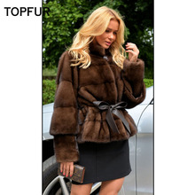 TOPFUR 2019 New Fashion Short Winter Female Coat Real Fur For Women Natural Mink Outerwear & Coats Black Basic Jackets