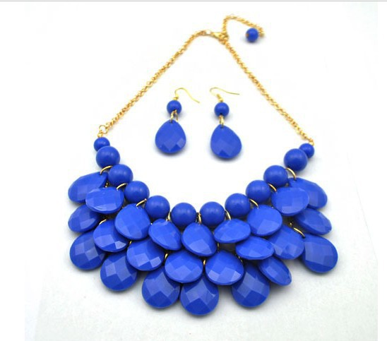ADOLPH Jewelry  for women maxi necklace  2015 new Alloy multi Gem necklaces & pendants fashion statement necklace with earrings