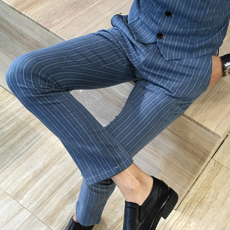 2018 New Mens Designer Cotton Fashions Stripe Formal Wedding Dress Suit Pants Man Stripe Business Casual Pants Trousers Male ...