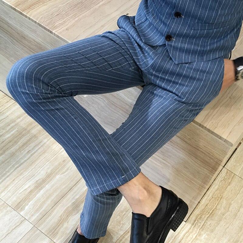 2019 New Men's Designer Cotton Fashions Stripe Formal Wedding Dress Suit Pants Man Stripe Business Casual Pants Trousers Male
