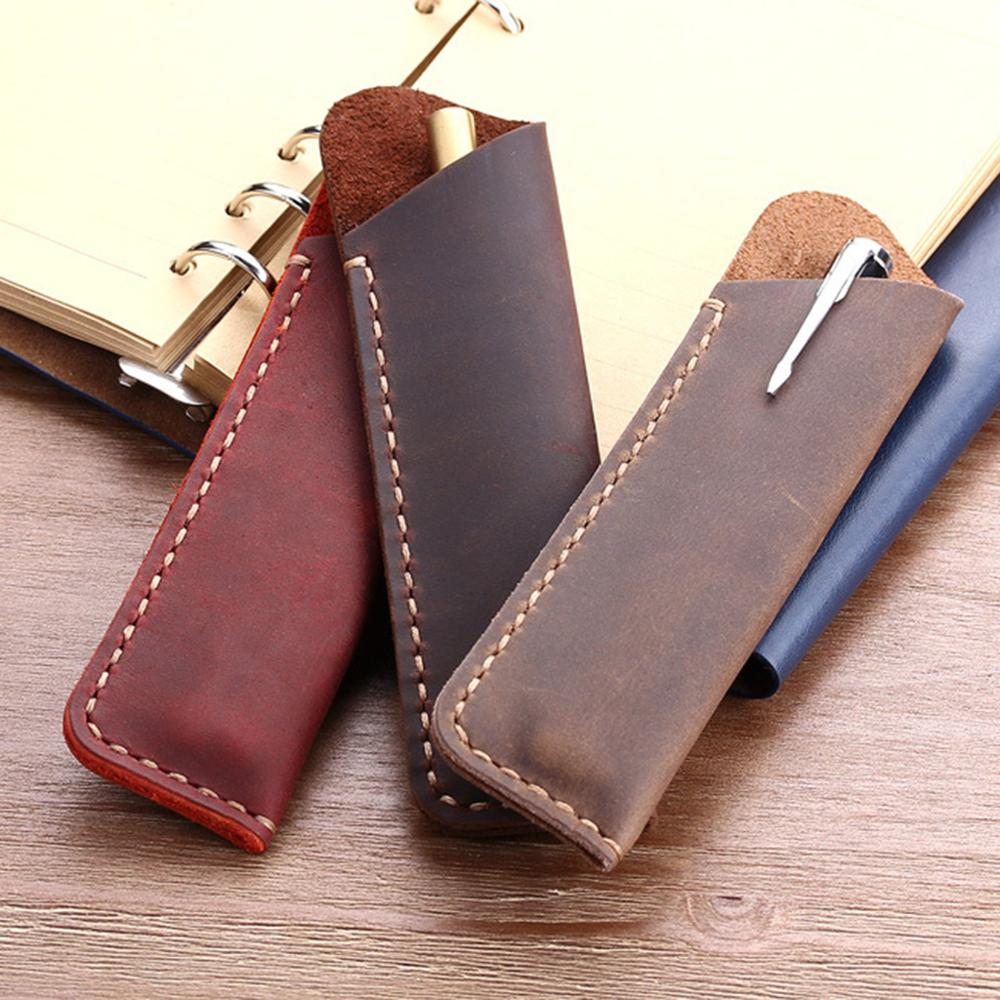 Retro Leather Pen Holder Rounded Corner Ballpoint Pen Protective Sleeve Cover Straight Stiched Handmade Fountain Pouch For Holdi