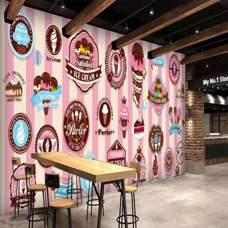 Hand Painted Pink delicious ice cream custom photo mural wallpaper Restaurant dessert shop backdrop wallpapers