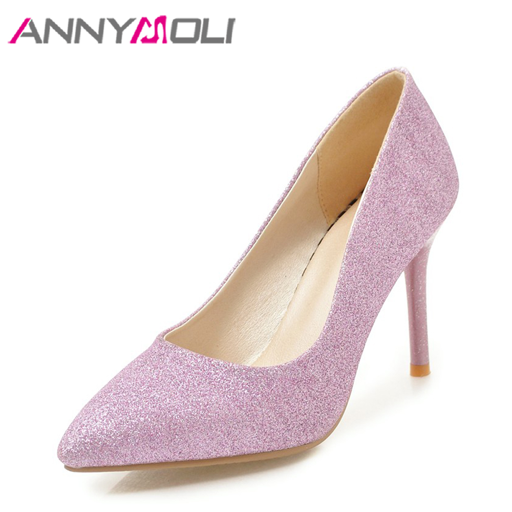 ANNYMOLI Women Pumps High Heels Bridal Shoes Wedding Purple Bling Pointed Toe Slip On Ladies Party Shoes 2018 Large Size 33-43 women luxury shoes platform pumps bridal wedding lolita shoes black red beige bottom peep toe high heels fetish shoes size 4 16