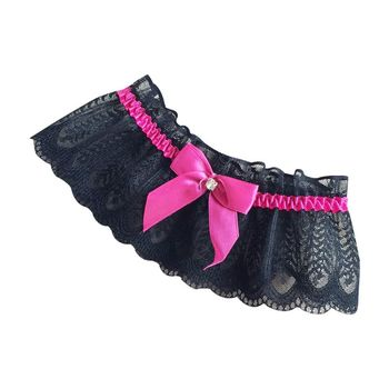 Women Sexy Maid Cosplay Lingerie Floral Lace Leg Ring Loop Rhinestone Contrast Color Bowknot Wedding Bridal Elastic Wide Thigh Bridal Blets