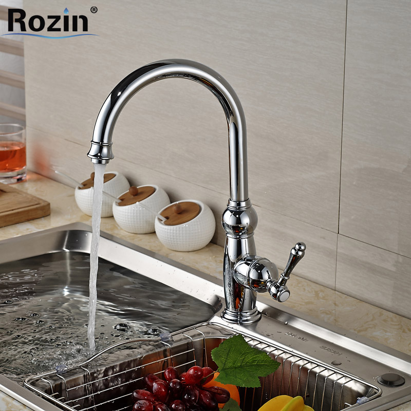 ФОТО Deck Mount Single Lever Kitchen Sink Hot Cold Water Taps Chrome Brass Kitchen Mixers Faucet