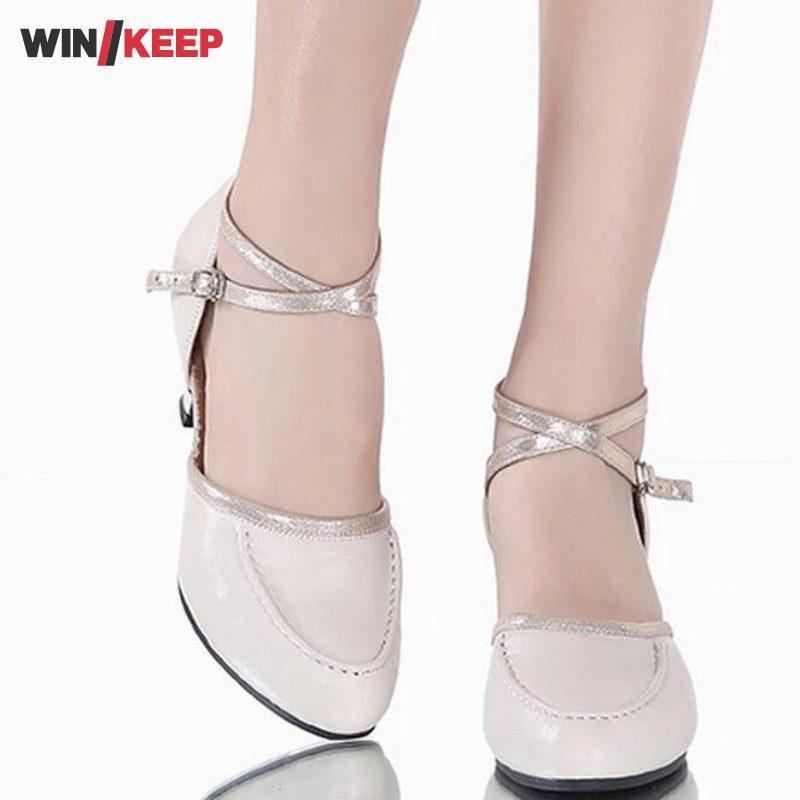 NEW Women's Ballroom Latin Dance Zapatos High Quality Cow Leather Practice Tango Dancing Shoes Heeled  Salsa Dancing shoes