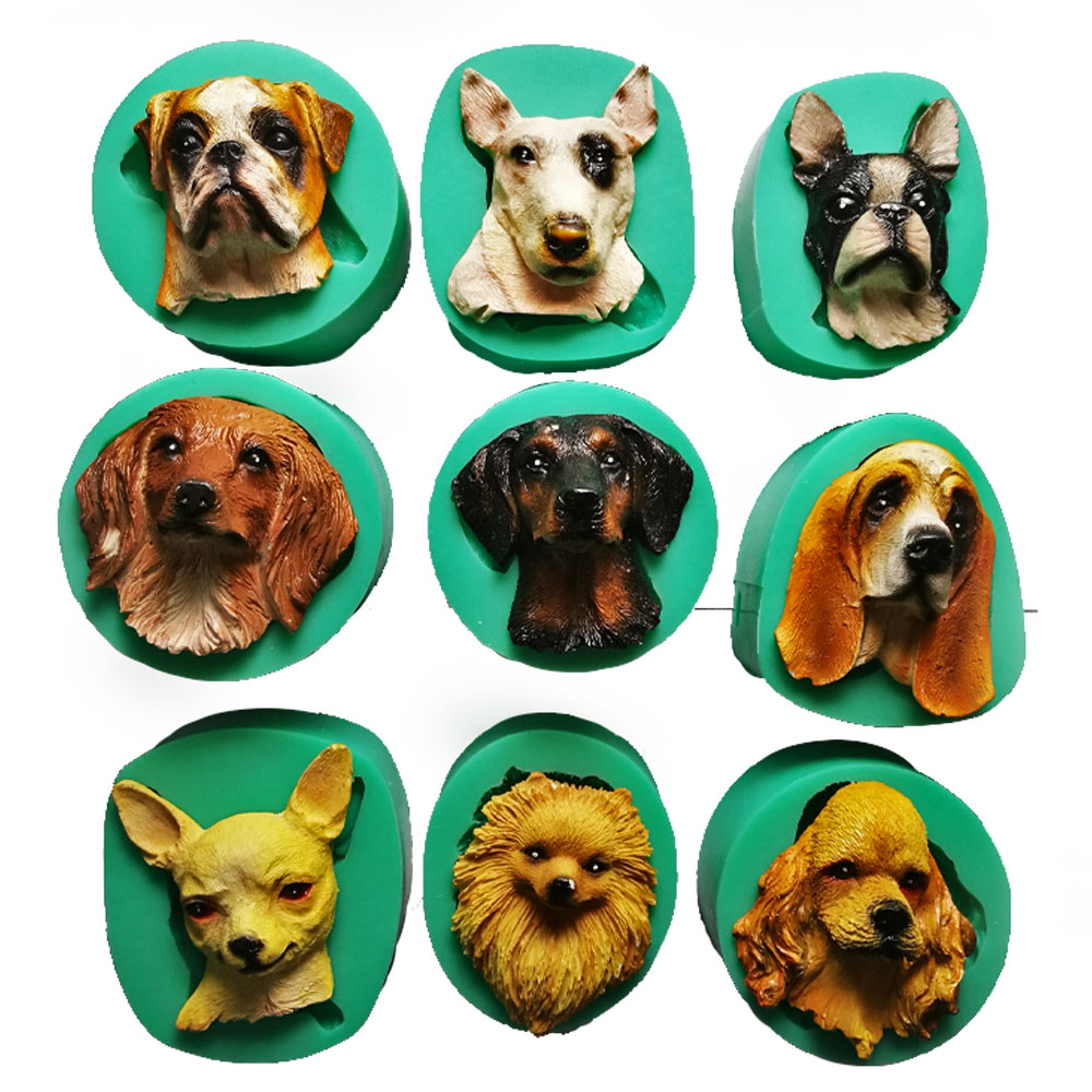 Puppy Dog Breed Face Silicone Cake Decoration Mold Animal Cupcake