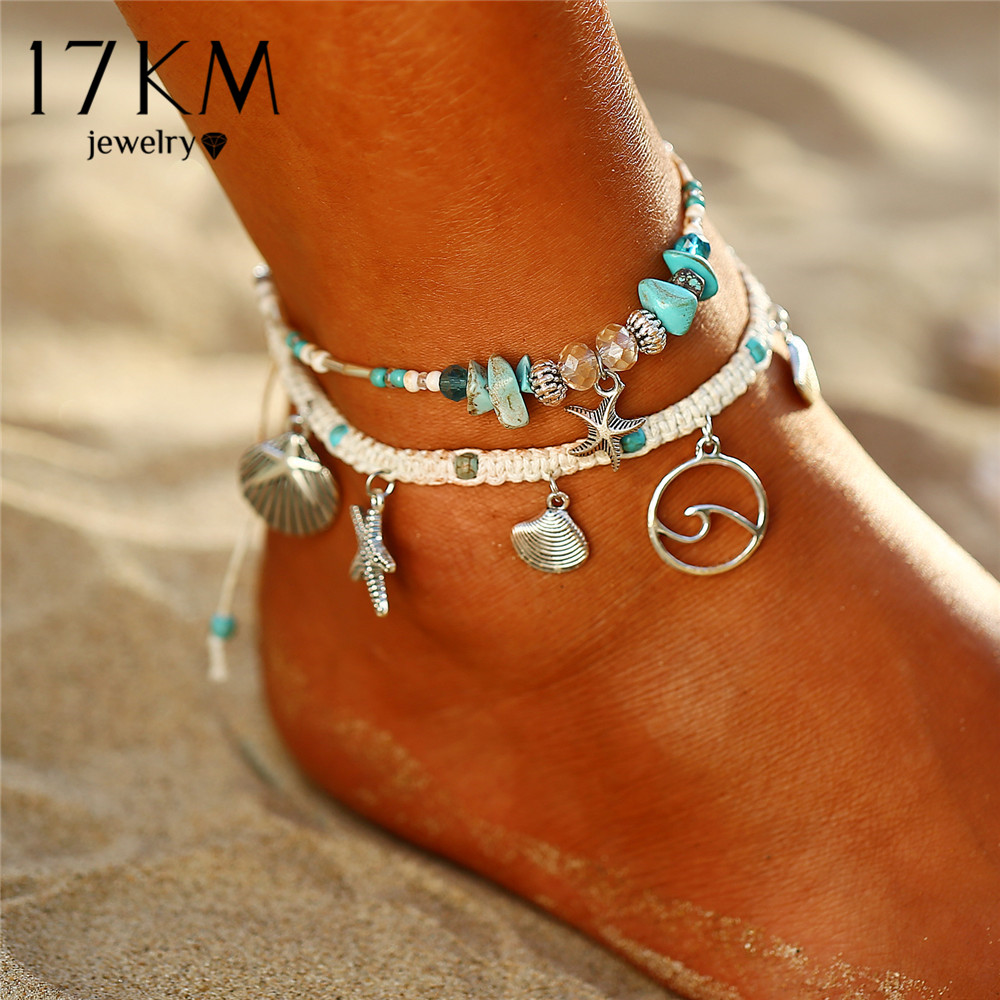 17KM Bohemian Starfish Stone Anklets Set For Women Vintage Handmade Wave Anklet Bracelet On Leg Beach Ocean Jewelry 2018