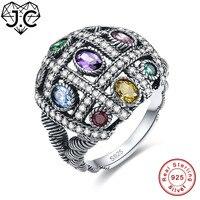 JC Đầy Màu Sắc Dễ Thương Thạch Anh Tím Emerald Citrine Blue Topaz 925 Sterling Silver nhẫn Kích 6 7 8 9 Dazzling Phụ Nữ Cưới Đồ Trang Sức M