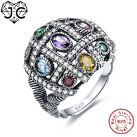 J C Colorful Cute Amethyst Emerald Citrine Blue Topaz 925 Sterling Silver Ring Size 6 7