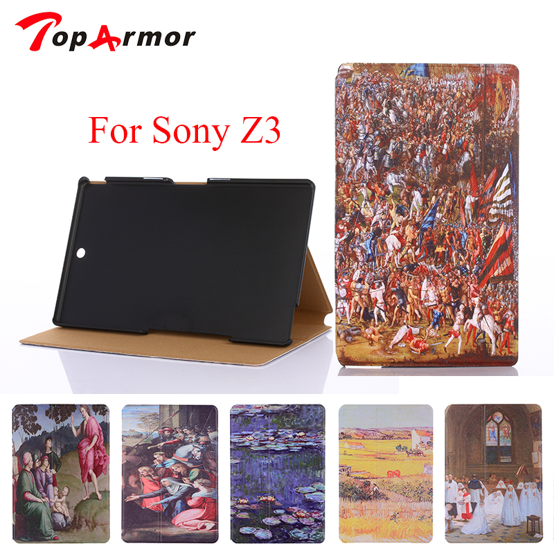 TopArmor For sony z3 case Fashion Painting For Sony Xperia Z3 Compact Tablet Cover Vintage Art Painted Pattern Tablet Case fashion starry sky oil painting for sony xperia z4 tablet ultra 2015 10 1 cover vintage art painted pattern tablet case