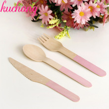 24pcs/set Natural Wood Cake Tray Knife Fork Spoon Wooden Fruit Party Supplies Baby Shower Happy Birthday wedding Decor