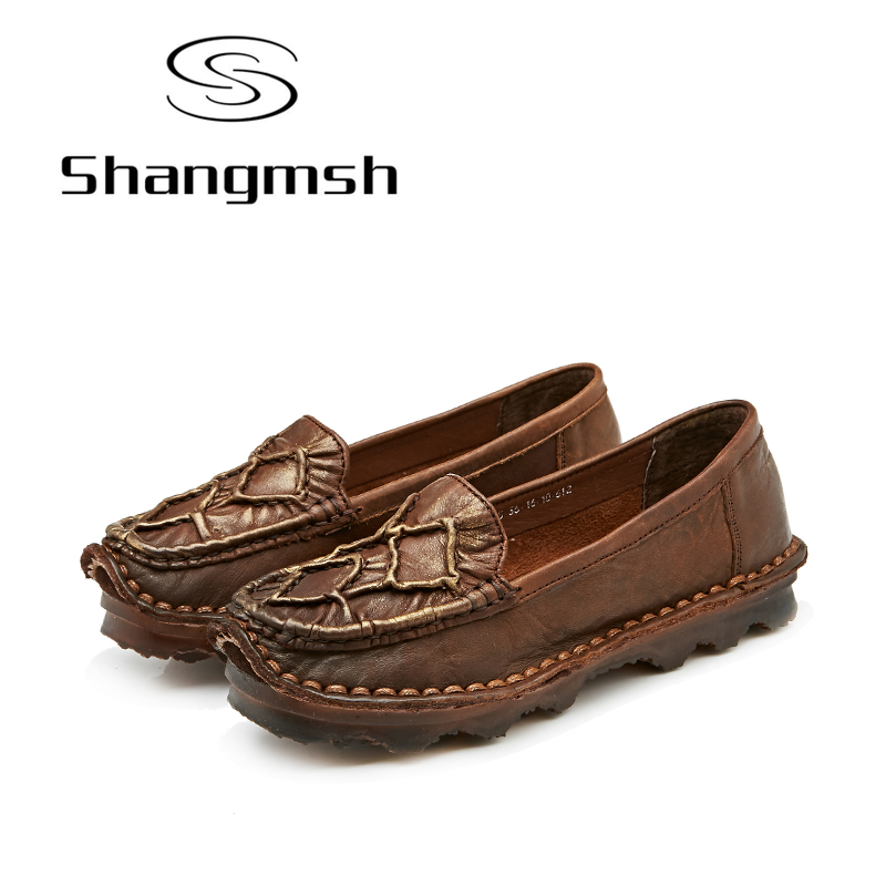 Shangmsh Summer women's shoes Genuine leather Female slip on Handmade Cowhide Casual Driving Loafers Moccasins Shoes Woman dxkzmcm genuine leather fashion mens casual shoes cowhide driving moccasins handmade slip on loafers