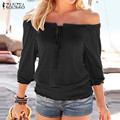 New Arrival 2016 Autumn Blouses ZANZEA Women Shirts Sexy Off Shoulder Slash Neck Long Sleeve Tops Casual Blusas Plus Size