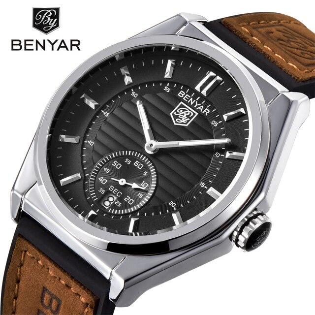 BENYAR Fashion Business Watches Men Leather Waterproof Luxury Brand Quartz Watch Sports calendar simple watch Saat dropshipping