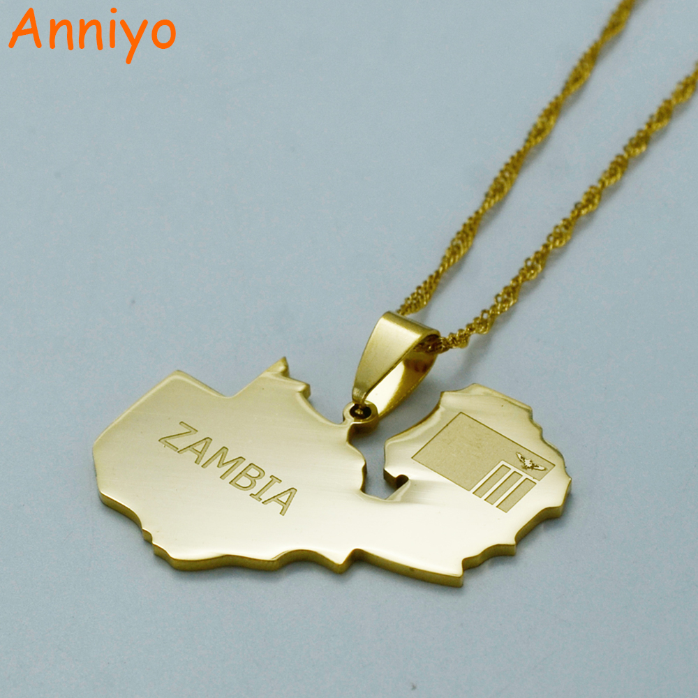 Anniyo ZAMBIA Map Necklace Gold Color Jewelry Map of Zambians Pendant Jewellery Country Maps #003421
